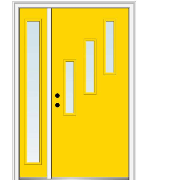 Mmi Door 51 In X 81 75 In Davina Clear Low E Glass Right Hand 3 Lite Modern Painted Steel Prehung Front Door With Sidelite Z0354652r The Home Depot