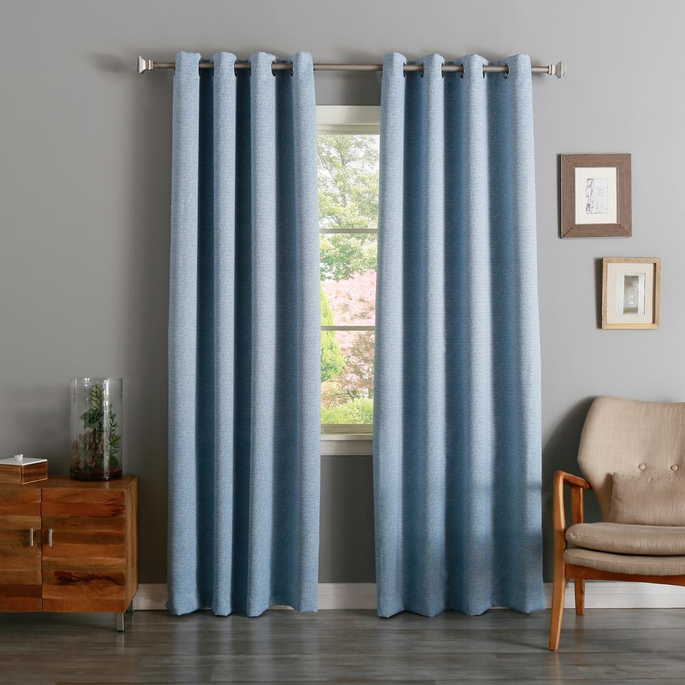84 in. L Blue Linen Print Room Darkening Curtain Panel (2-Pack)