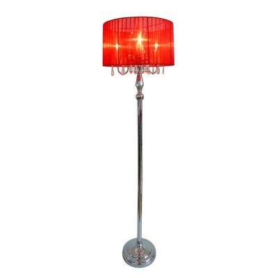 Red floor lamps lamps the home depot trendy romantic red sheer shade chrome floor lamp with hanging crystals aloadofball Gallery