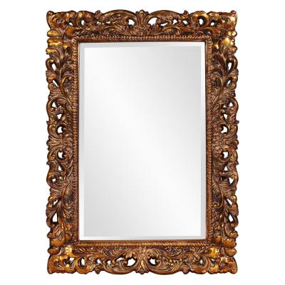 Large Rectangle Antique Gold Leaf Beveled Glass Classic Mirror (46 in. H x 32 in. W)