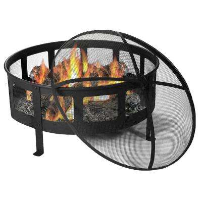 Bravado 30 in. x 22 in. Round Steel Mesh Wood-Burning Fire Pit with Spark Screen