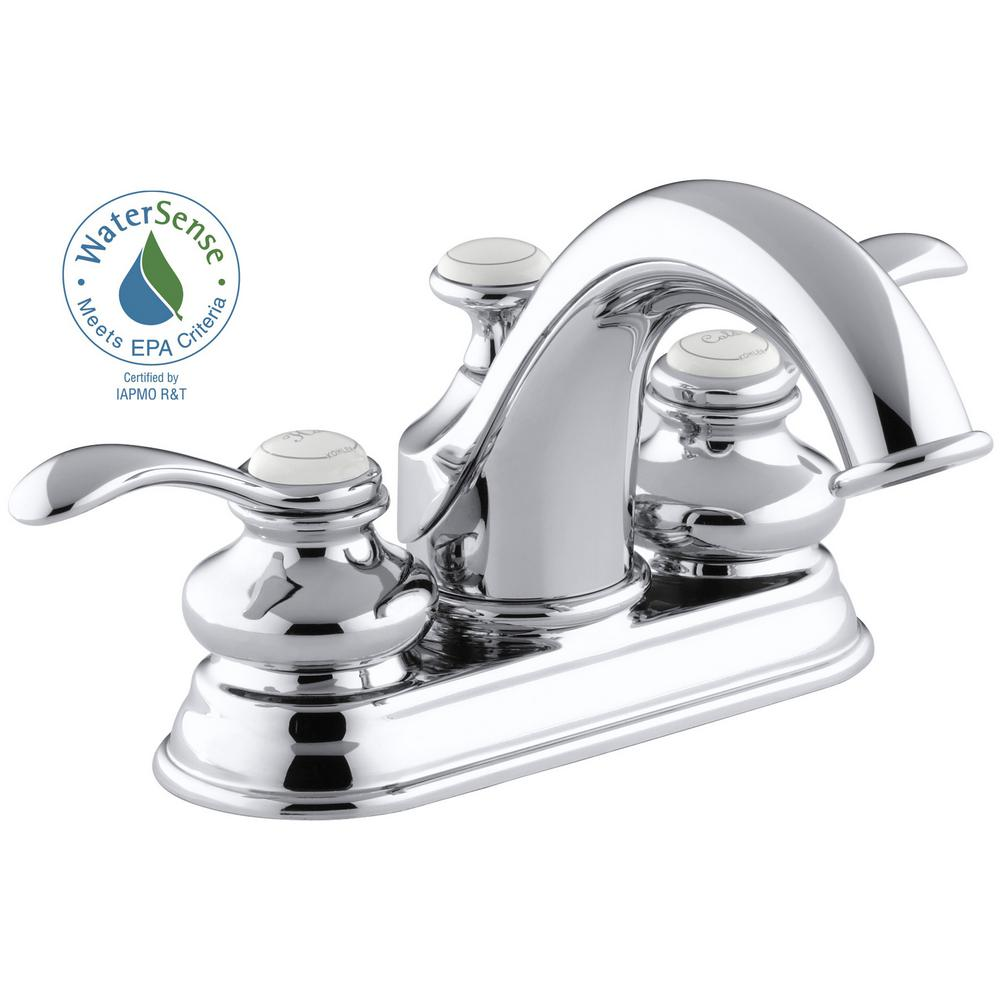 KOHLER Fairfax 4 in. Centerset 2-Handle Water-Saving Bathroom Faucet ...