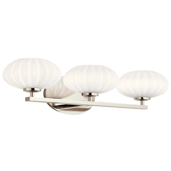 Pim 8 in. 3-Light Polished Nickel Vanity Light with Etched Glass Shade