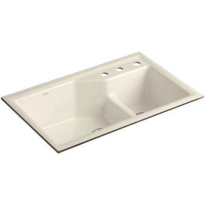 Indio Smart Divide Undermount Cast Iron 33 in. 3-Hole Double Bowl Kitchen Sink Kit in Almond