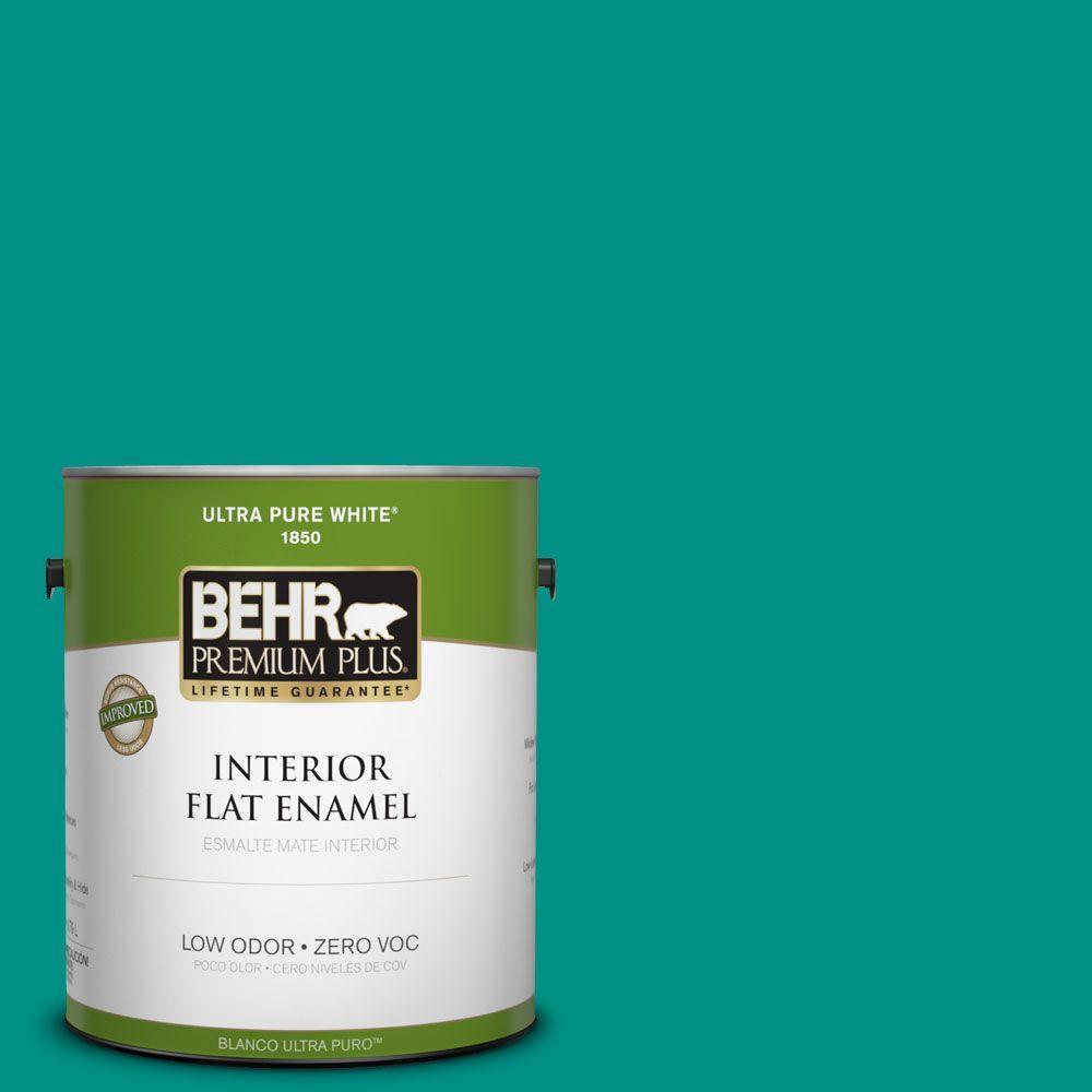 BEHR Premium Plus 1-gal. #490B-6 Emerald Coast Zero VOC Flat Enamel Interior Paint-DISCONTINUED