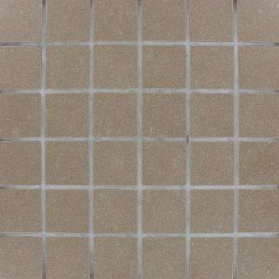 Beton Olive 12 in. x 12 in. x 10 mm Porcelain Mesh-Mounted Mosaic Tile