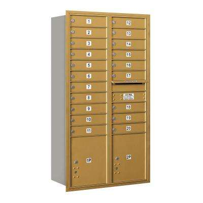 56 3/4 in. Max Height Unit Gold Private Rear Loading 4C Horizontal Mailbox with 20 MB1 Doors/2 PL's