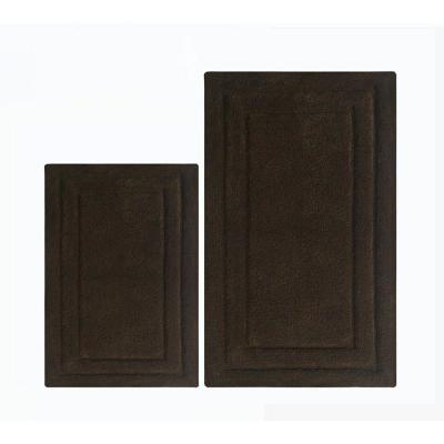40 in. L x 24 in. W x 0.3 in. H Soft Underfoot Chocolate Brown 2-Piece Cotton Bath Rug Set