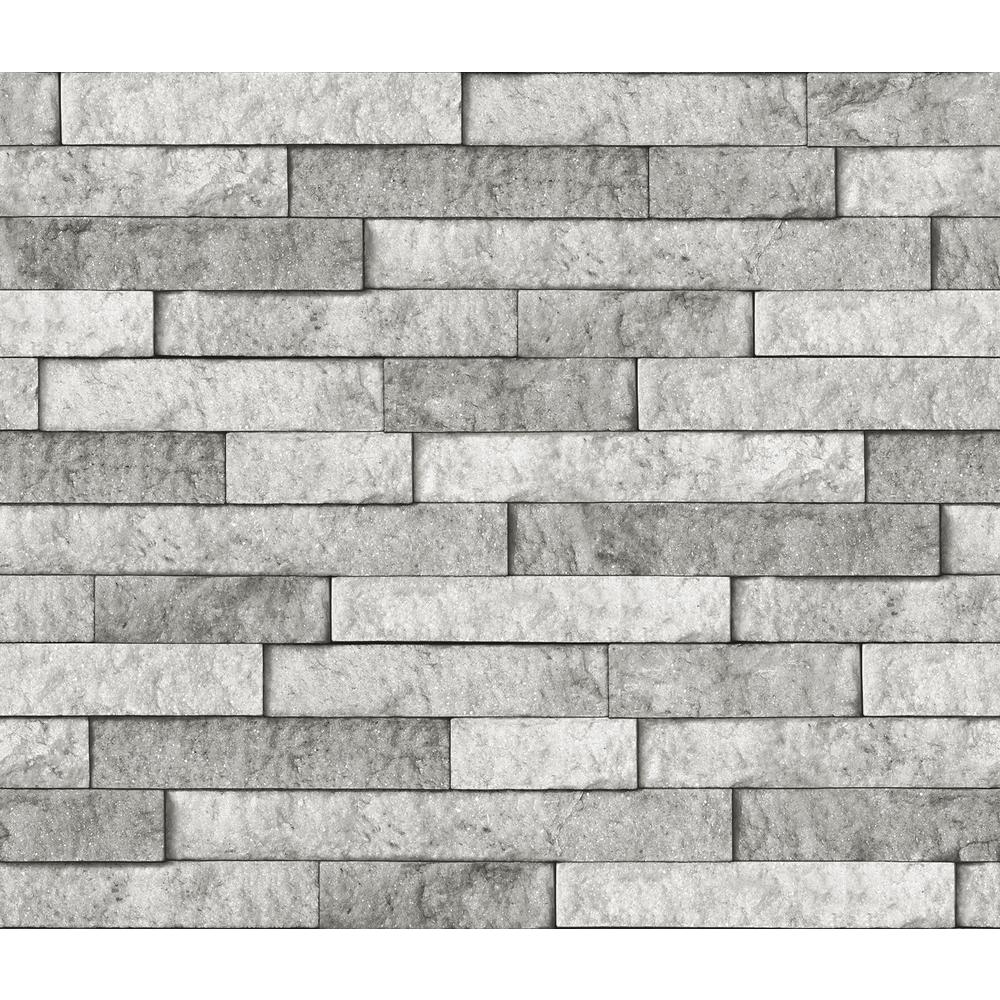 - Brewster Grey Stone Wall Applique Peel And Stick Backsplash