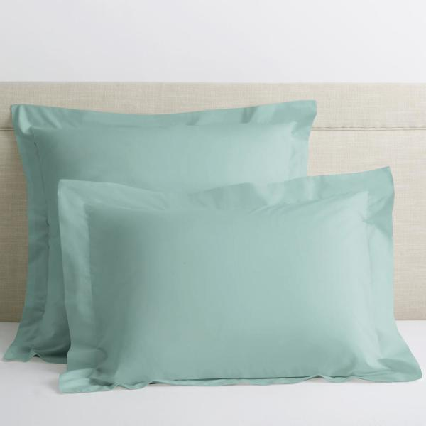 Organic Pale Blue Solid 300-Thread Count Cotton Percale King Sham