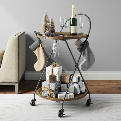 Sage 2-Tier Warm Walnut Tray and Black Metal Round Mid-Century Rolling Bar Cart or Serving Cart