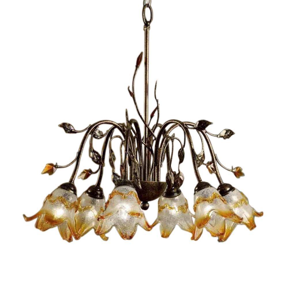 6-Light Bronze Windance Floral Ceiling Chandelier