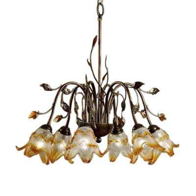6-Light Bronze Windance Floral Ceiling Chandelier