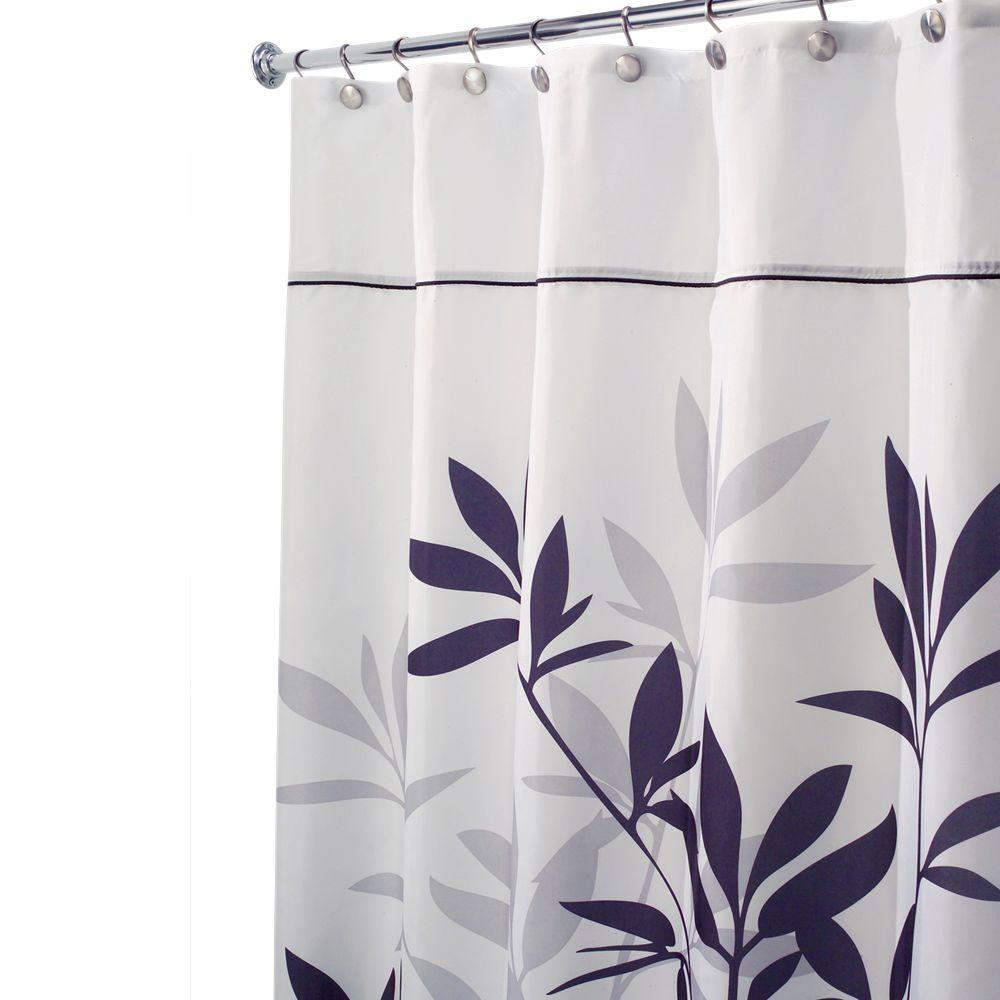 InterDesign Leaves Long Shower Curtain In Black And Gray