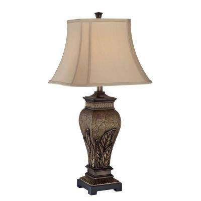 Designer Collection 31 in. Silver Table Lamp with Tan Fabric Shade