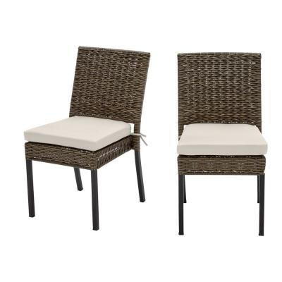 Laguna Point Brown Wicker Outdoor Patio Dining Chair with CushionGuard Almond Tan Cushions (2-Pack)