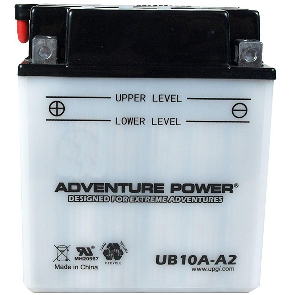 UPG Conventional Wet Pack 12-Volt 11 Ah Capacity D Terminal Battery Adventure Power conventional motorcycle batteries combine time-tested technology with modern manufacturing processes, resulting in unparalleled reliability at an affordable price. Adventure Power batteries feature high cranking amps, superior vibration resistance, and minimal maintenance. Primary Applications: Motorcycle.