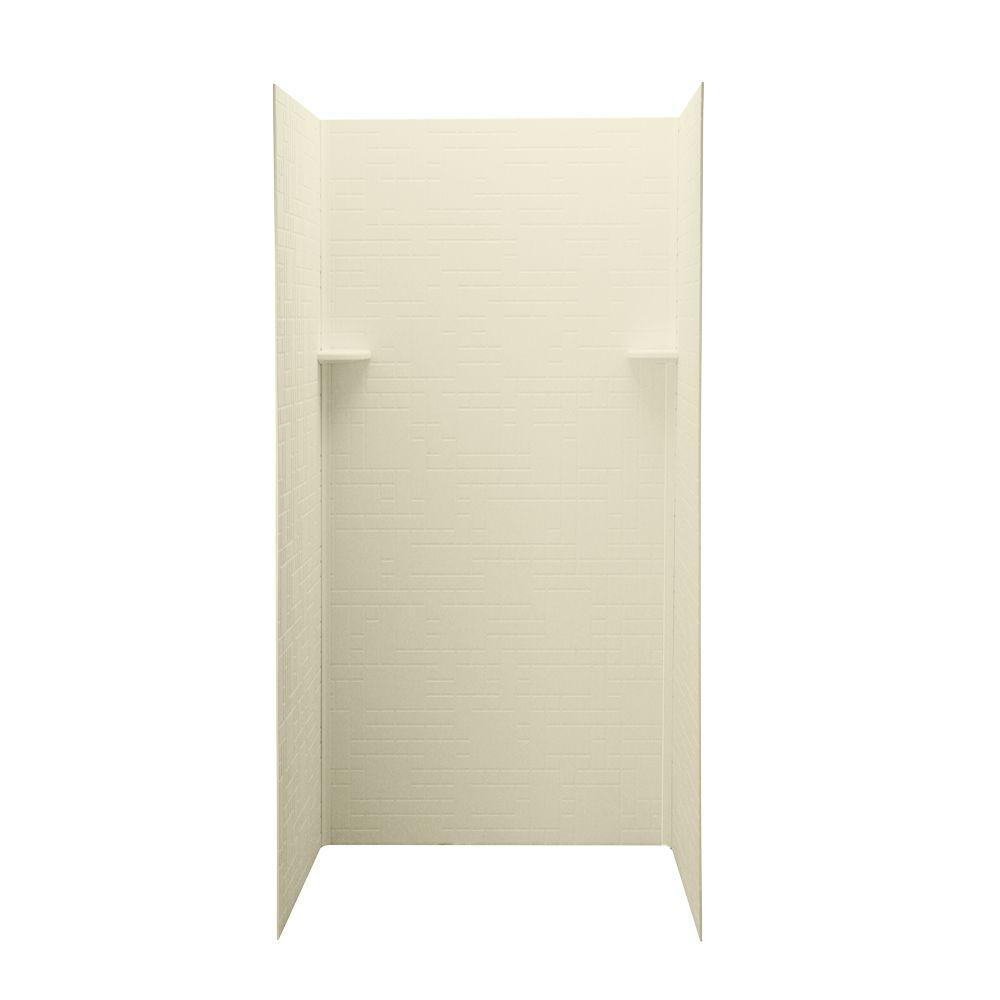 Swan Geometric 36 in. x 36 in. x 72 in. Three Piece Easy Up Adhesive Shower Wall Kit in Bone-DISCONTINUED