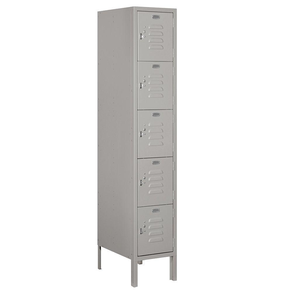 65000 Series 12 in. W x 66 in. H x 18 in. D Five Tier Box Style Metal Locker Assembled in Gray