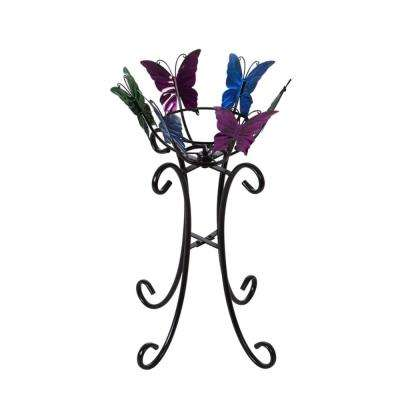 24 in. Multi-Color Butterflies Gazing Ball Stand