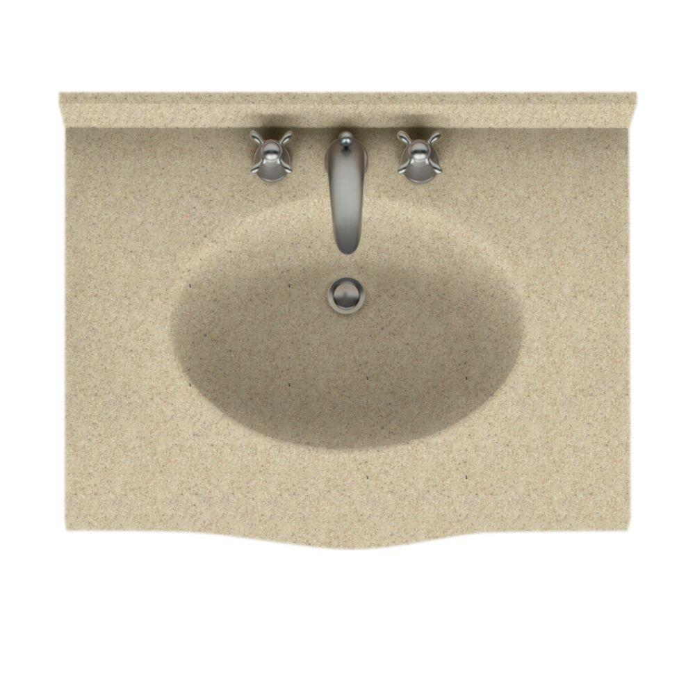Swanstone Europa 37 in. Solid Surface Vanity Top with Basin in Prairie-DISCONTINUED
