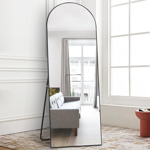 Pexfix 65 In X 22 Modern Arched, Black Large Free Standing Mirror