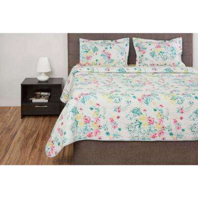 Floral 3-Piece Multi Printed Queen Quilt Set