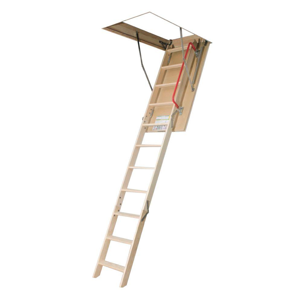 Fakro LWP 10 ft. 1 in.,  22-1/2 in. x 54 in. Insulated Wood Attic Ladder with 300 lb. Load Capacity Type IA Duty Rating