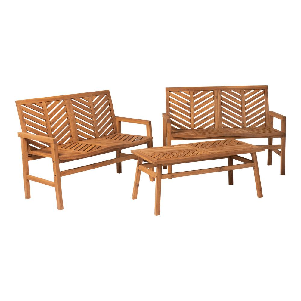 Groovy Walker Edison Furniture Company Chevron Brown 3 Piece Wood Outdoor Patio Loveseat Chat Set Ocoug Best Dining Table And Chair Ideas Images Ocougorg