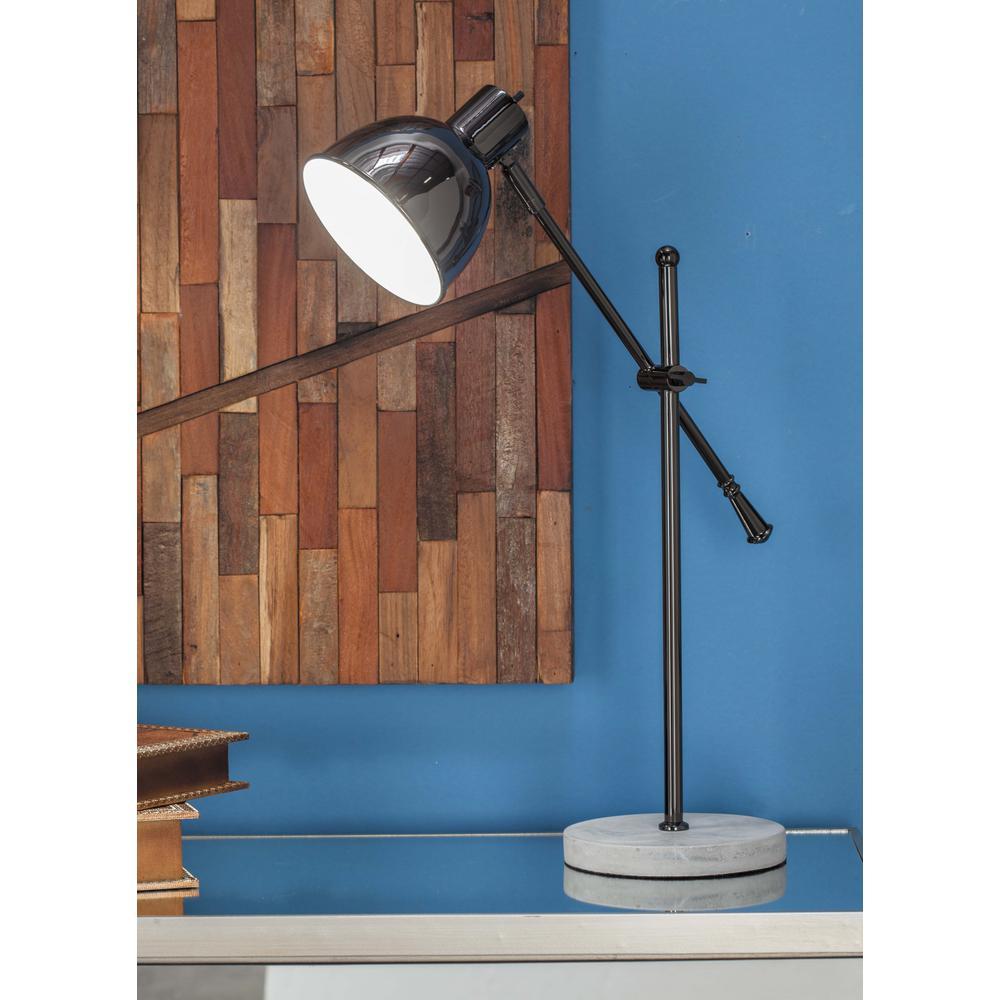 15 in. x 25 in. Modern Bell-Shaped Metallic Black Iron Task Lamp