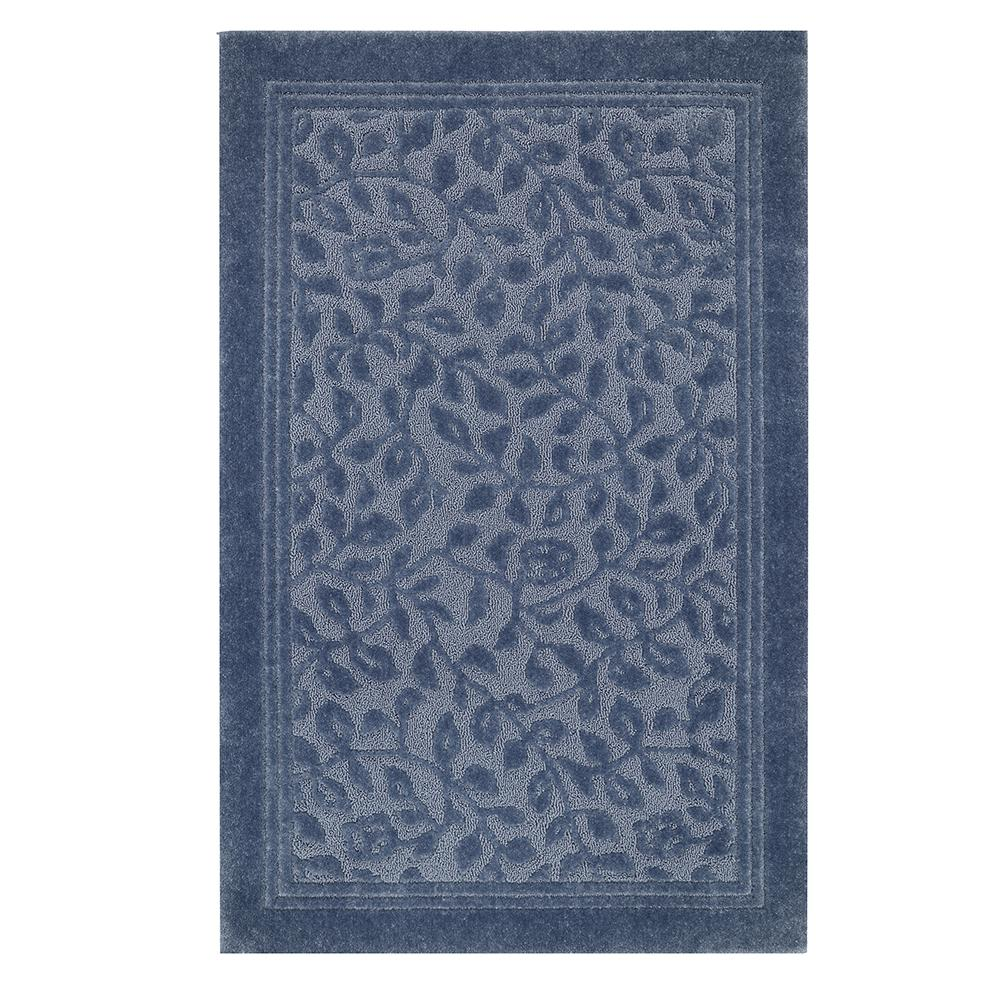Wellington 5 ft. x 7 ft. Nylon Bath Rug in Blue