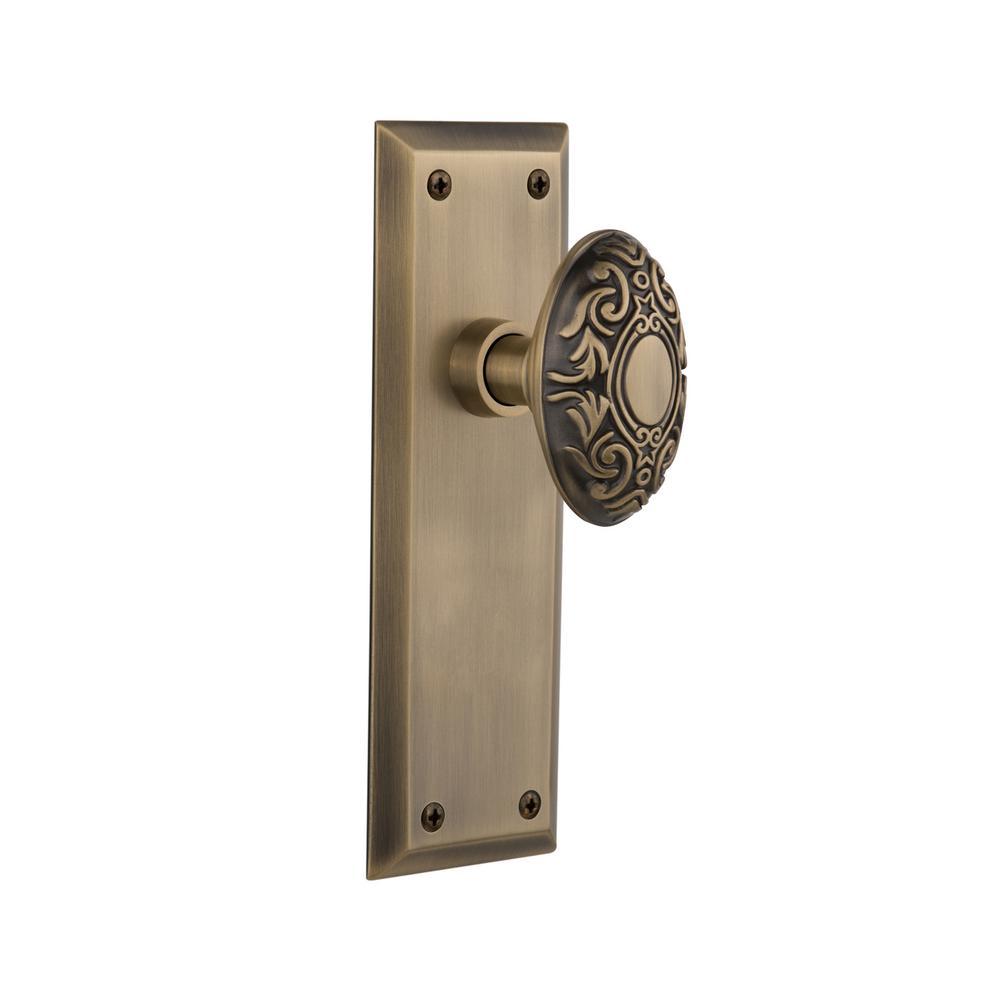 Delightful Nostalgic Warehouse New York Plate Double Dummy Victorian Door Knob In  Antique Brass