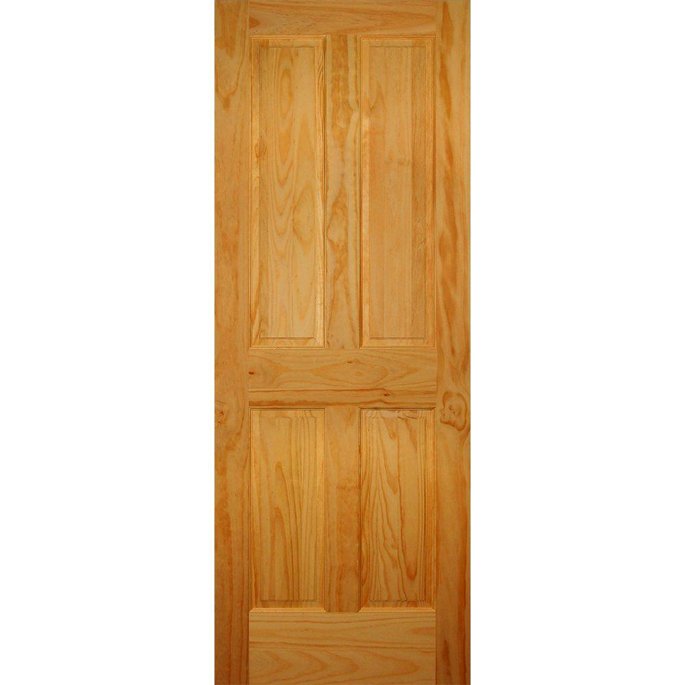 30 in. x 80 in. 4-Panel Solid Core Pine Single Prehung