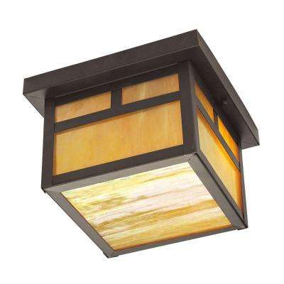 Providence Collection 2-Light 6.5 in. Bronze Outdoor Iridescent Tiffany Glass Flushmount