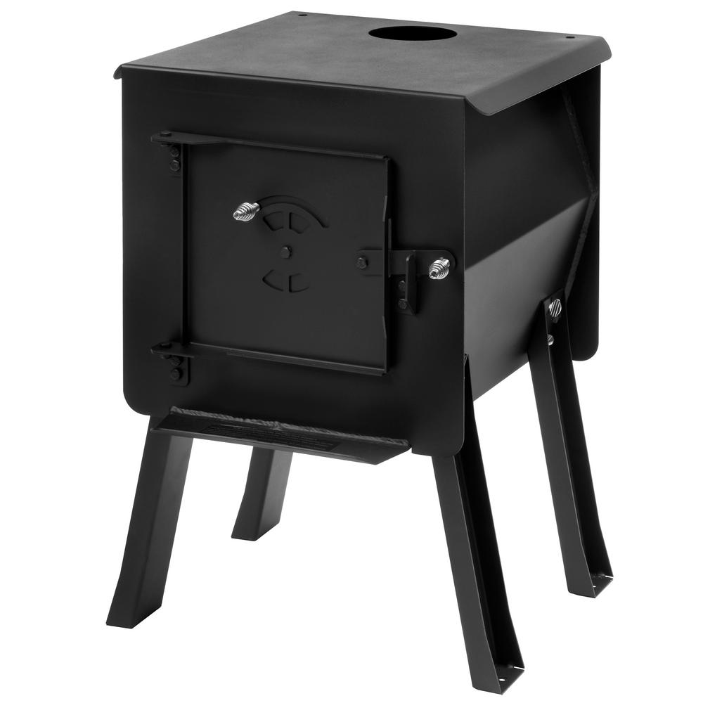 DWD Outdoor Camping Camp Fire Wood Burner Stove with Carry Bag Spare flue pipe 60mm Dia x 39cm L