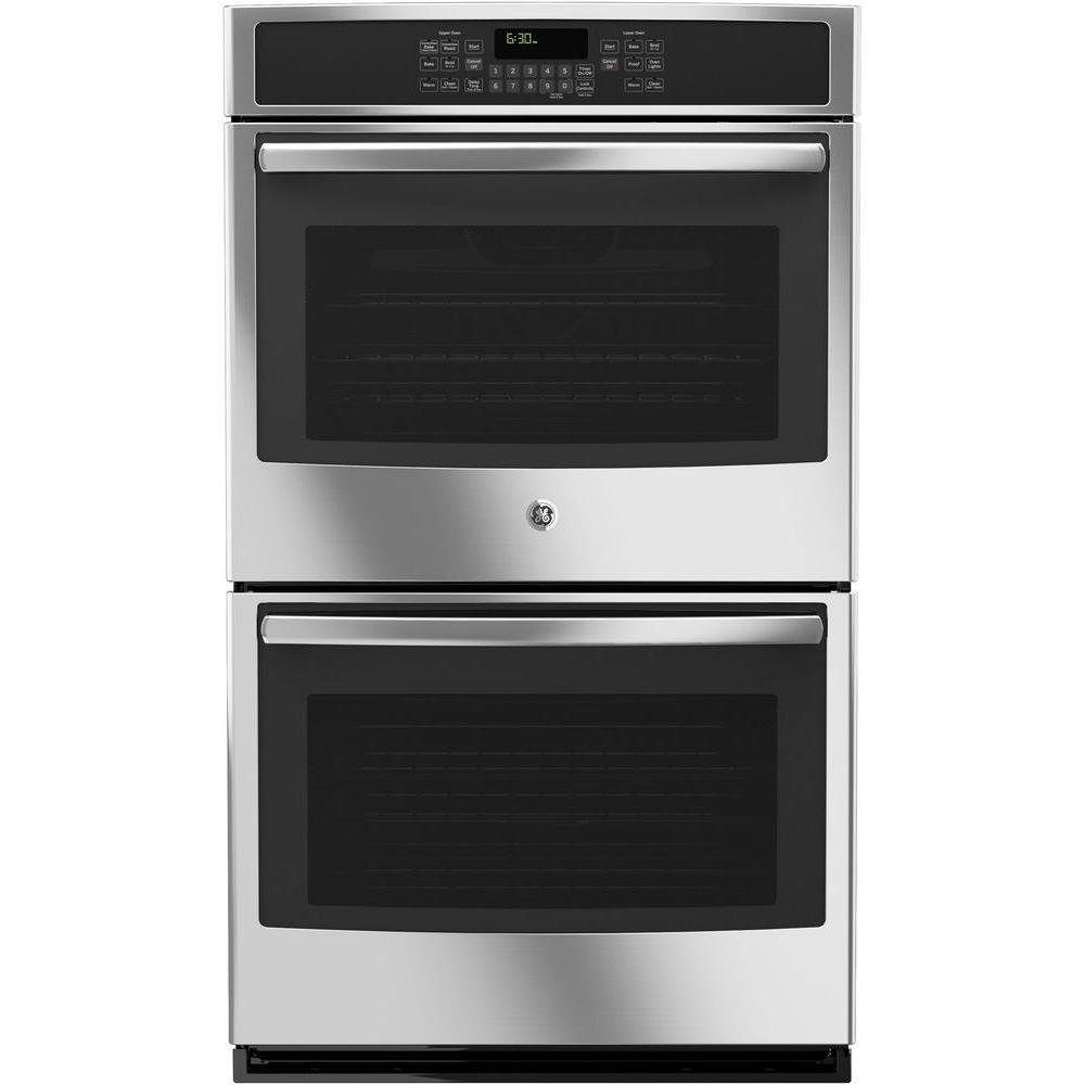 GE 30 in. Double Electric Wall Oven Self-Cleaning with Convection in Stainless Steel