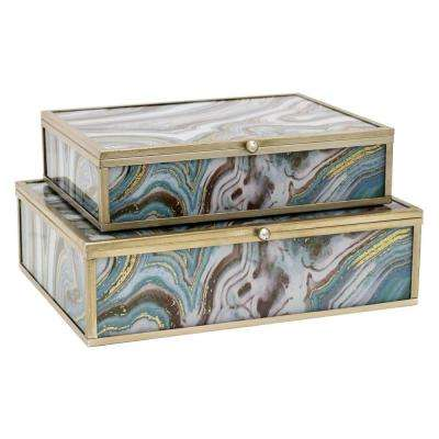 9 in. x 7 in. Glass and Metal Framed Boxes in Green (Set of 2)