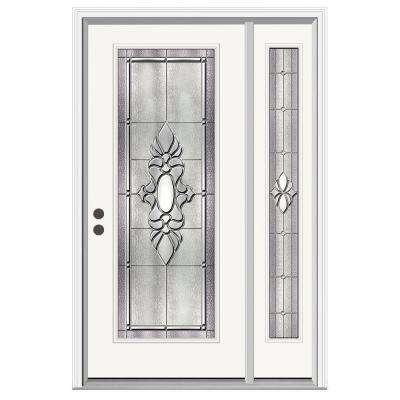 52 in. x 80 in. Full Lite Langford Primed Steel Prehung Right-Hand Inswing Front Door with Right-Hand Sidelite
