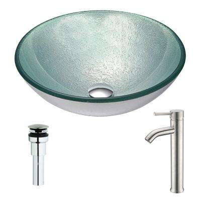 Spirito Series Deco-Glass Vessel Sink in Churning Silver with Fann Faucet in Chrome