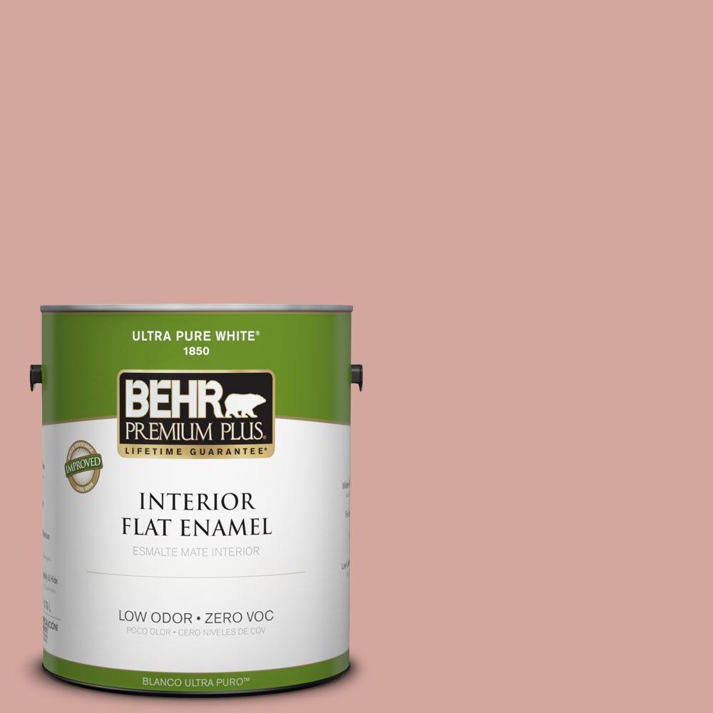 BEHR Premium Plus 1-gal. #200E-3 Cinnamon Cocoa Zero VOC Flat Enamel Interior Paint-DISCONTINUED