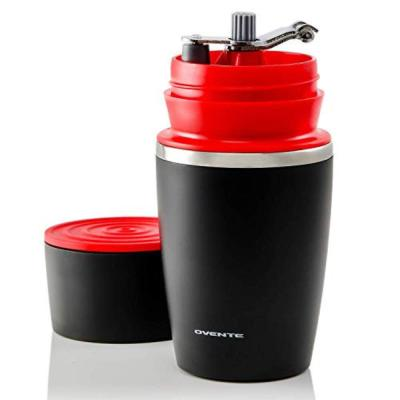 Single Serve Red Coffee Grinder, French Press, 2-in-1 Carafe Coffee Maker Machine, With Insulated Cup