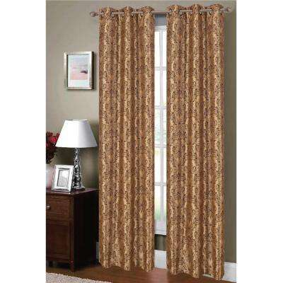 Semi-Opaque Adelle Flocked Faux Silk 84 in. L Grommet Curtain Panel Pair, Taupe/Chocolate (Set of 2)