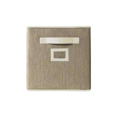 11 in. Fabric Glimmer Storage Bin in Cafe