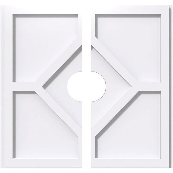 Ekena Millwork 1 In P X 7 1 2 In C X 22 In Od X 4 In Id Embry Architectural Grade Pvc Contemporary Ceiling Medallion Two Piece Cmp22ey2 04000 The Home Depot