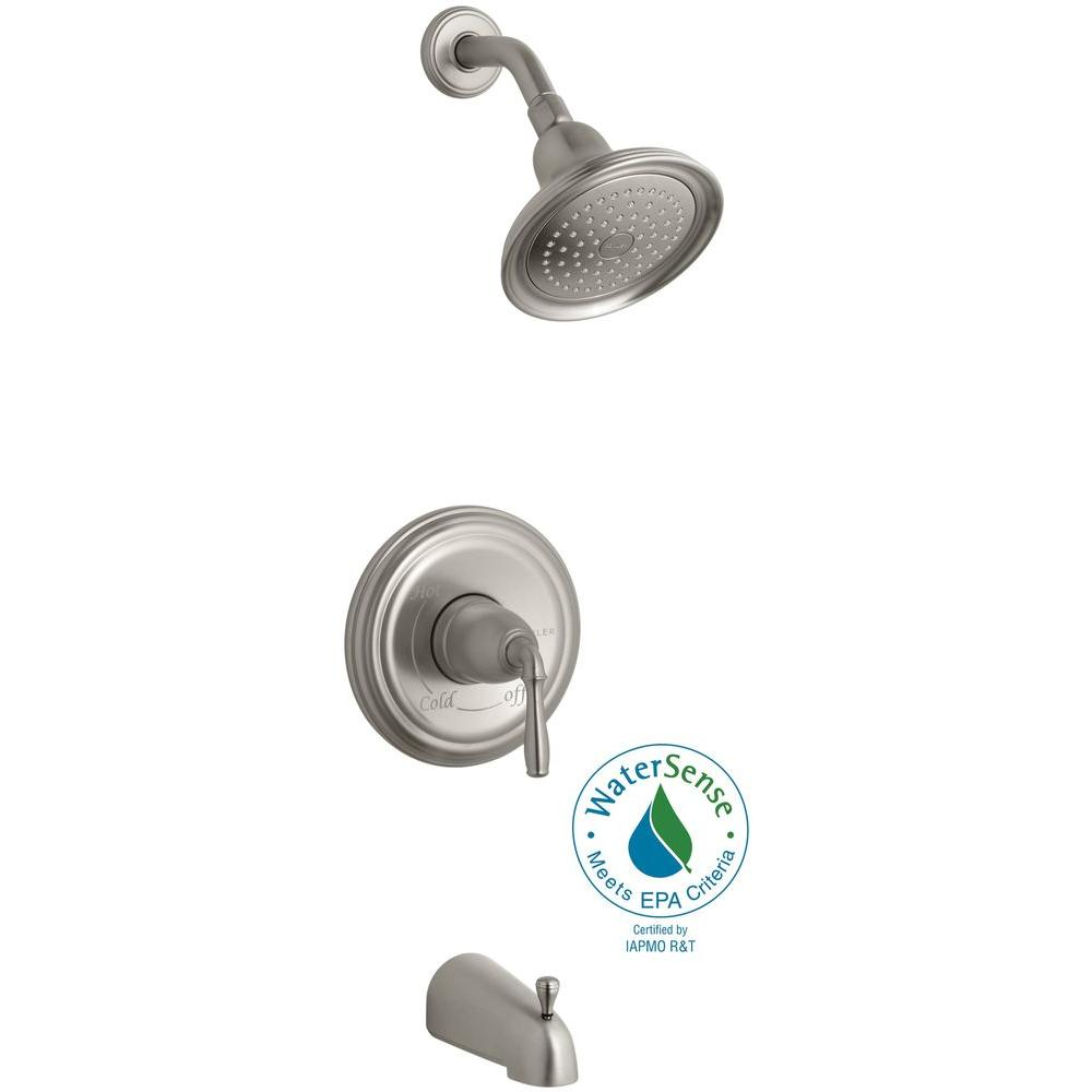 Devonshire Rite-Temp Single-Handle 1-Spray Tub and Shower Faucet in Brushed