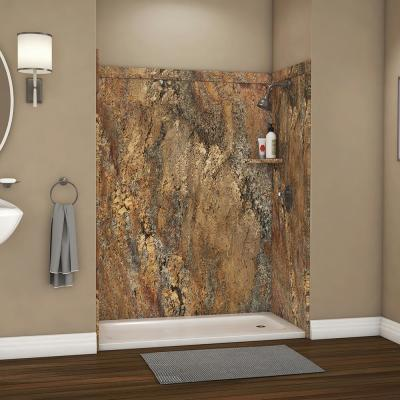 Royale 36 in. x 60 in. x 80 in. 11-Piece Easy Up Adhesive Alcove Bathtub/Shower Wall Surround in Crema Bordeaux
