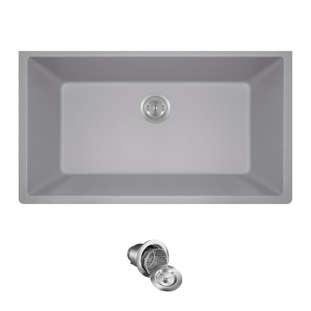 MR Direct Undermount Granite Composite 32.625 in. 0-Hole Single Bowl ...