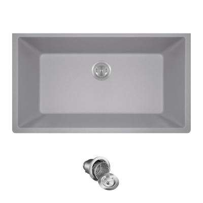 All-in-One Undermount Granite Composite 32.625 in. 0-Hole Single Bowl Kitchen Sink in Silver