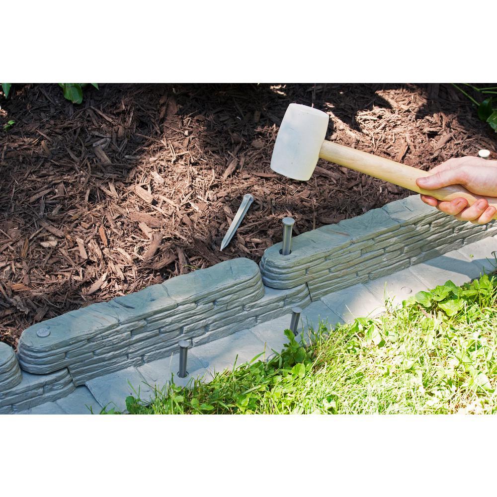 20 ft Bedrock Stone Garden Fence Landscaping Border Resin Edging 10 Piece Set