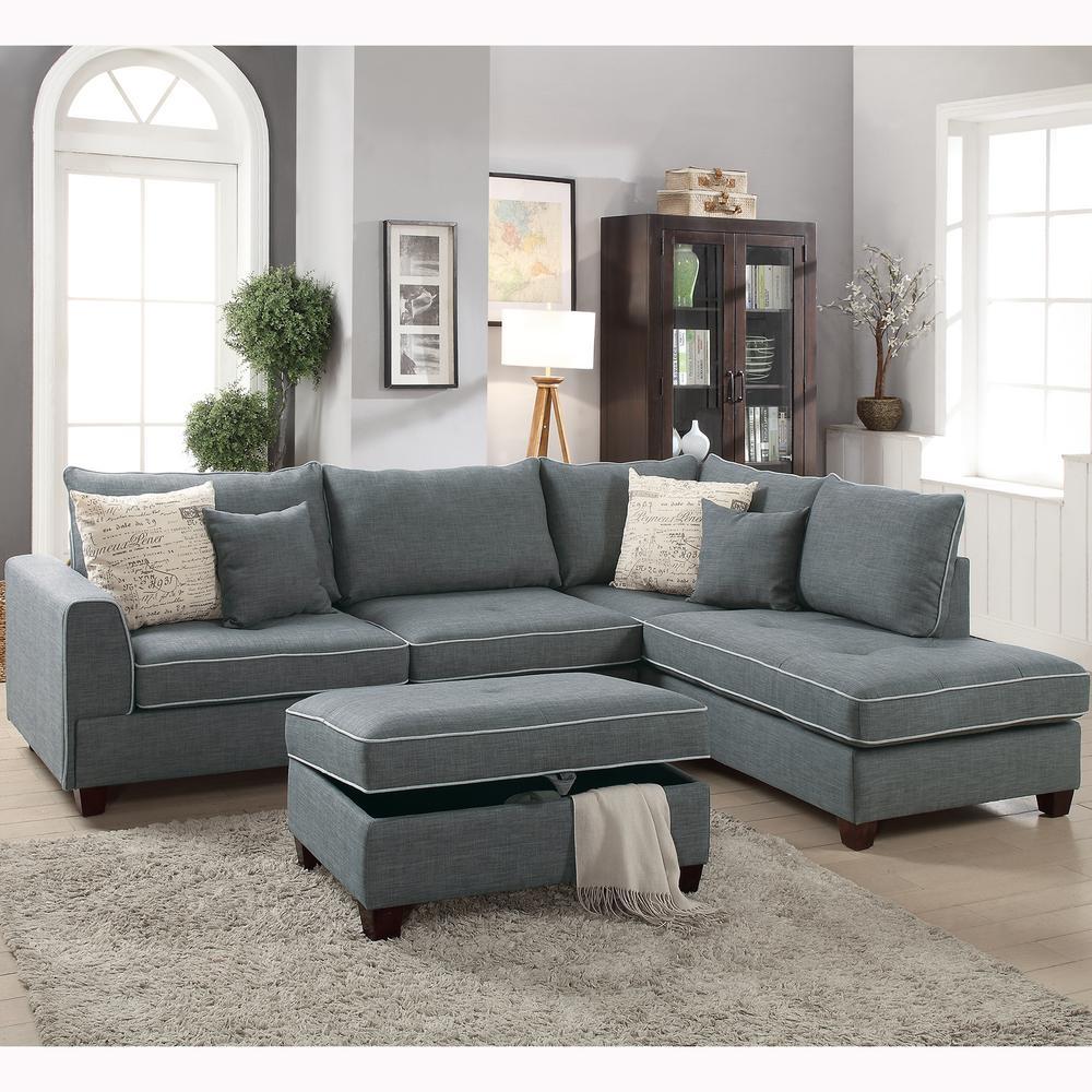 Venetian Worldwide Siena 3 Piece Sectional Sofa In Steel With Storage  Ottoman